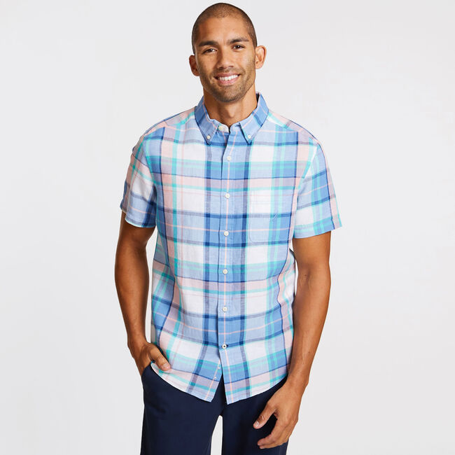 Classic Fit Linen-Cotton Striped Shirt,Riviera Blue,large
