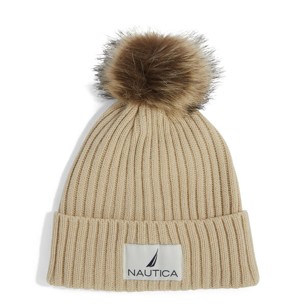 RIBBED HAT WITH FAUX FUR TRIM - Trailhead Heather
