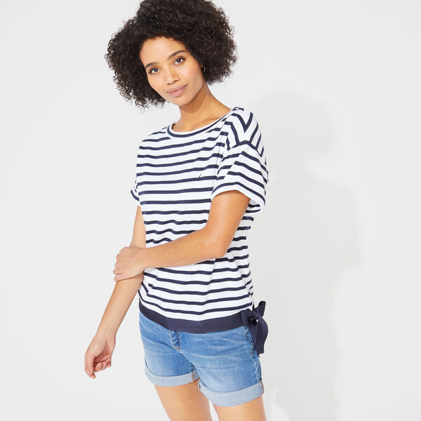 STRIPED TIE WAIST KNIT TOP - Bright White