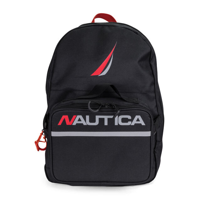 BACKPACK WITH LUNCH BAG IN BLACK,Black,large