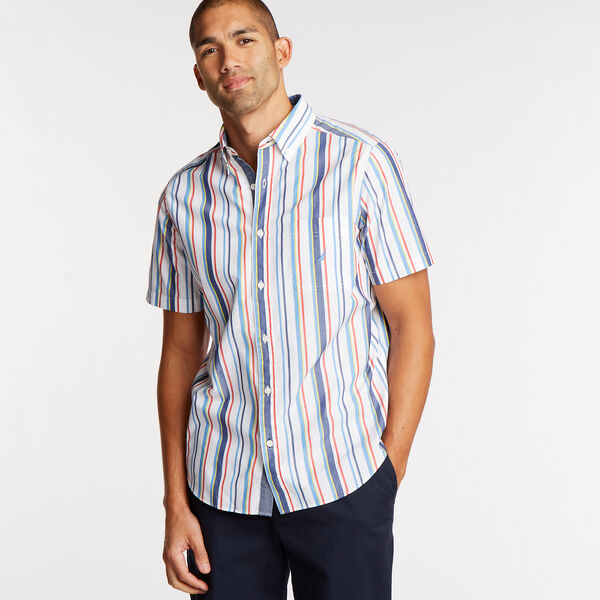 Short Sleeve Classic Fit Shirt in Multi Stripe - Bright White
