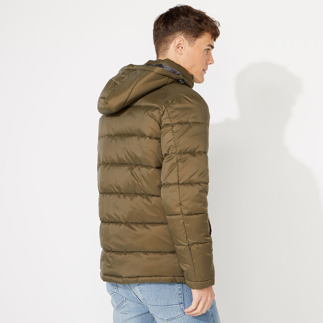 PUFFER JACKET WITH REMOVABLE HOOD,Cargo Green,large