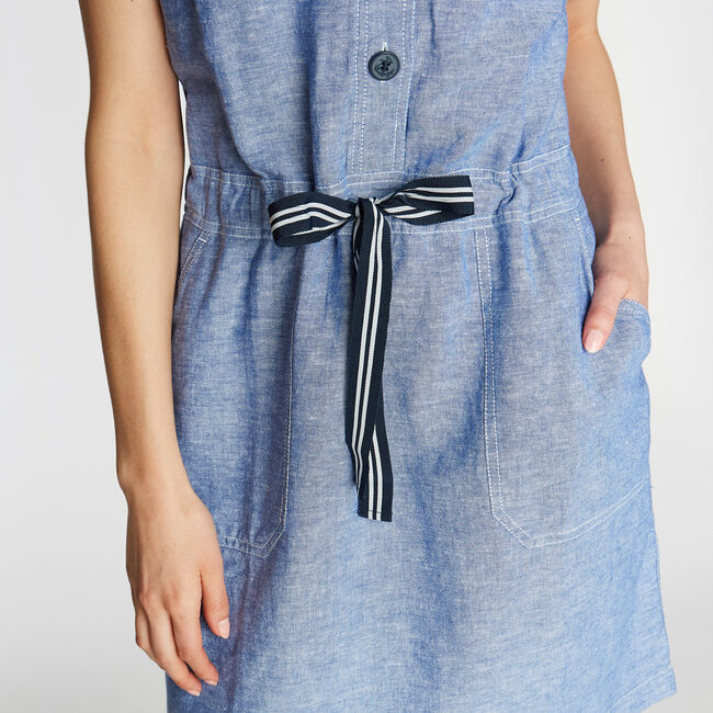 LINEN BLEND SHIRTDRESS,Deep Navy Heather,large