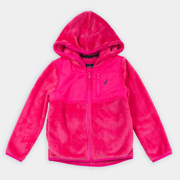 GIRLS' FAUX-FUR NAUTEX HOODED JACKET (8-20) - Lure Red