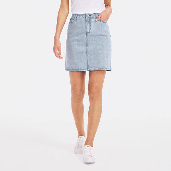 NAUTICA JEANS CO. STRIPED DENIM SKIRT - Breeze