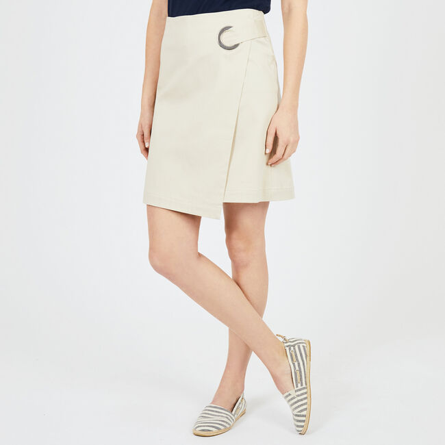 A-Line Wrap Skirt,Oyster Gray,large