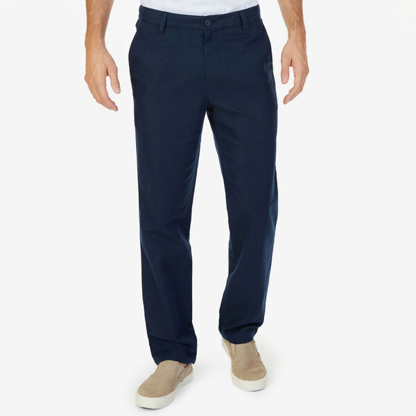 Flat Front Classic Fit Linen-Blend Pants - Navy