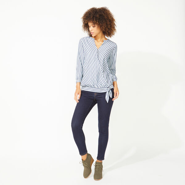 NAUTICA JEANS CO. STRIPE WRAP TOP - Blue Depths