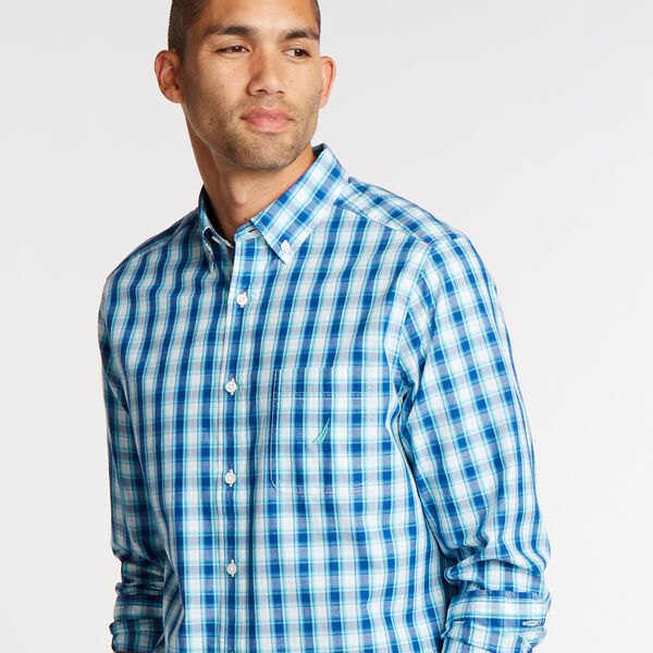 Classic Fit Shirt in Plaid - Poolside Aqua