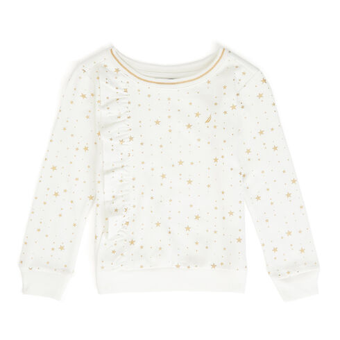 Little Girls' Star Motif Ruffle Pullover (4-6X) - Bright White