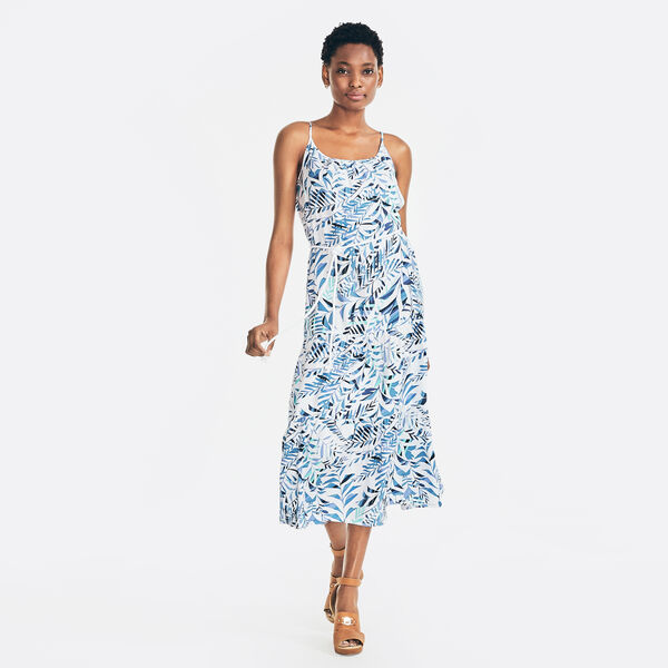 SUSTAINABLY CRAFTED PALM PRINT DRESS - Bright White