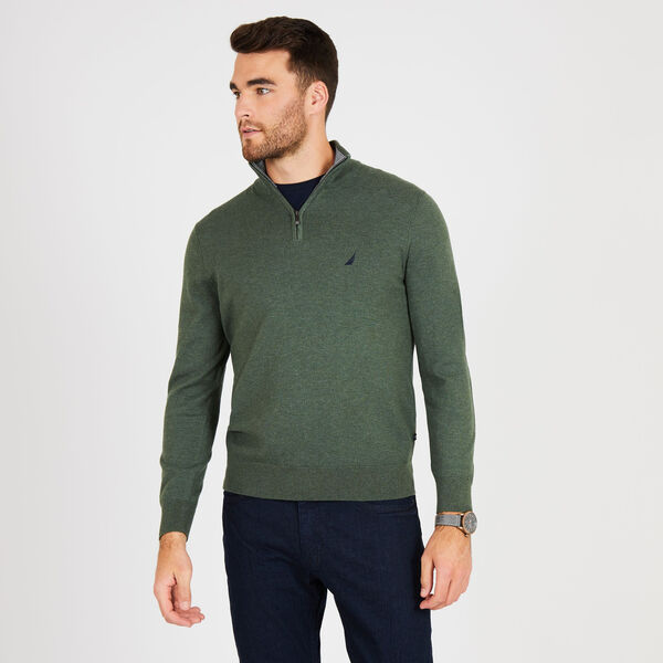 Big & Tall Quarter-Zip Mock-Neck Sweater - Pine Forest Heather