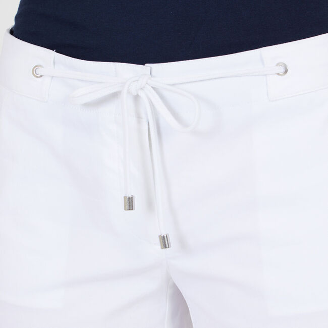"""Drawstring-Front Solid Stretch Shorts - 4"""" Inseam,Bright White,large"""