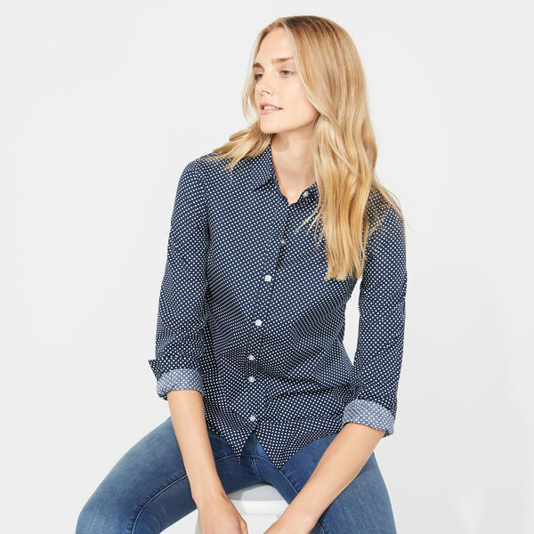 BEACH DOT PRINT LONG SLEEVE WOVEN SHIRT - Stellar Blue Heather