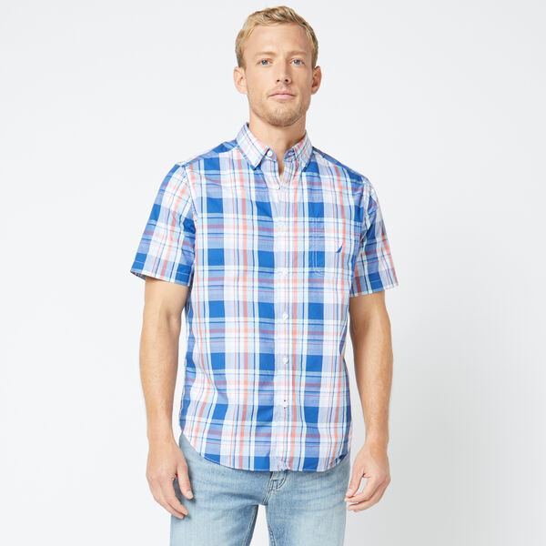 CLASSIC FIT SHORT SLEEVE MULTICOLOR PLAID SHIRT - Windsurf Blue