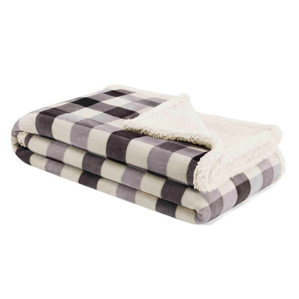 Gratton Ultra-Soft Plush Throw Blanket in Charcoal Plaid - Charcoal Hthr