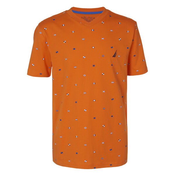 LITTLE BOYS' BIGBY SIGNAL FLAG PRINTED V-NECK TEE (4-7) - Navigator Orange
