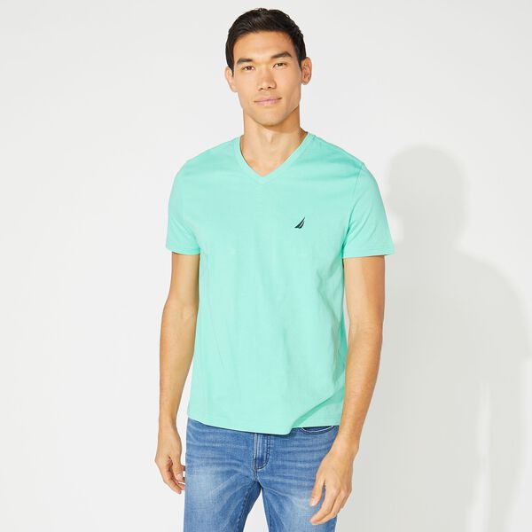 V-NECK PREMIUM COTTON T-SHIRT - Mint Spring