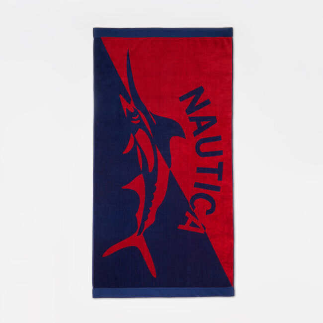 MARLIN AND LOGO PRINT BEACH TOWEL,Nautica Red,large