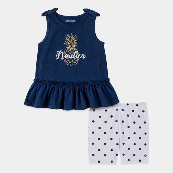 TODDLER GIRLS' PINEAPPLE PRINT BOW-ACCENTED 2PC BIKE SHORT SET (2T-4T) - Aquadream