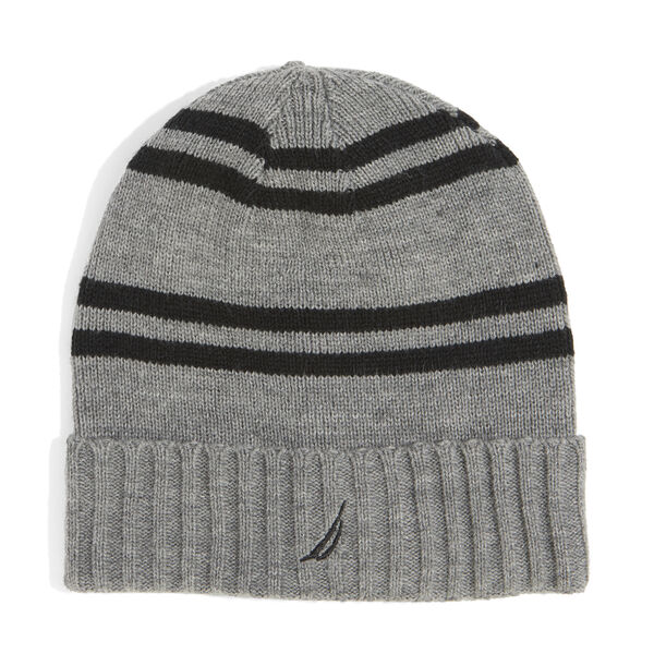 RIBBED KNIT STRIPED CUFF HAT - Grey Heather