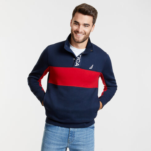 Long Sleeve Colorblock Half-Snap Classic Fit Polo - Navy