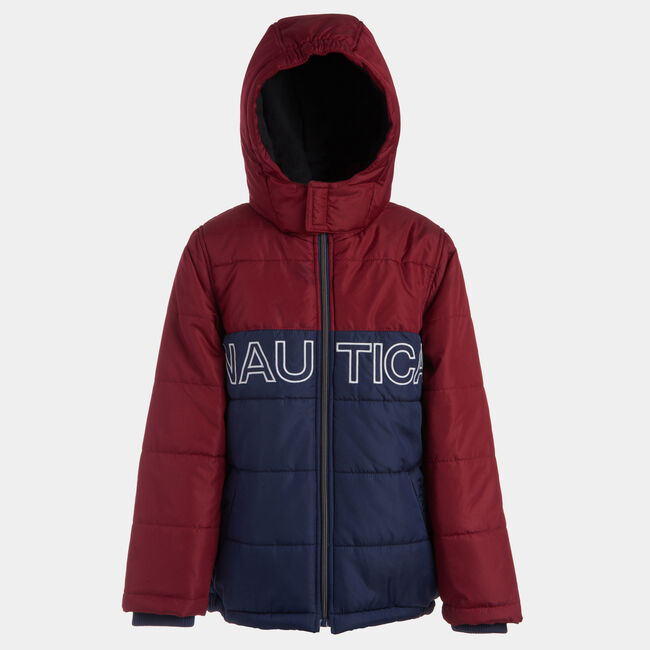 TODDLER BOYS' WATER-RESISTANT COLORBLOCK BUBBLE COAT (2T-4T),Rio Red,large