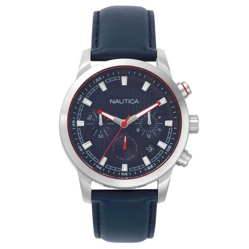 Taylor Leather Chronograph Watch - Navy - Navy