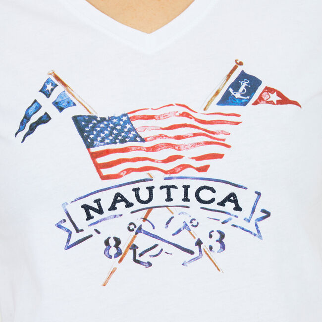 Sailing Flag Watercolor V-neck T-Shirt,Bright White,large
