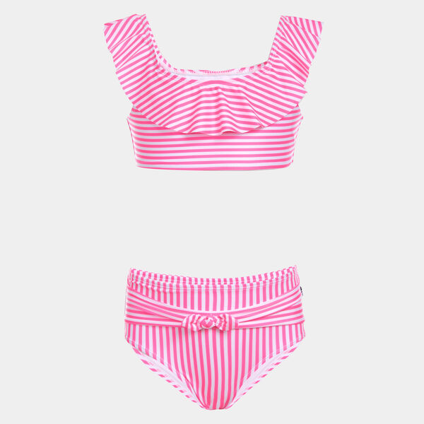 LITTLE GIRLS' STRIPED RUFFLE-ACCENTED BIKINI SWIMSUIT (4-7) - Lt Pink