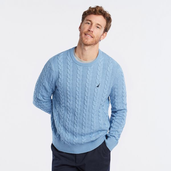 J-CLASS CABLE-KNIT SWEATER - Charcoal Blue Heather