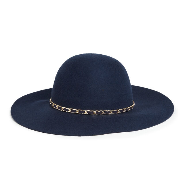Chain Band Wool Floppy Hat,Navy,large