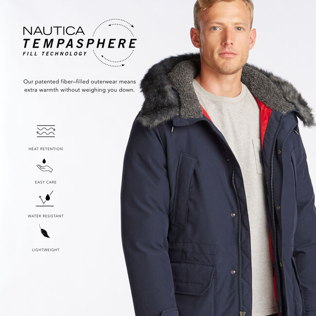 HEAVYWEIGHT HOODED PARKA WITH TEMPASPHERE,Pure Dark Pacific Wash,large