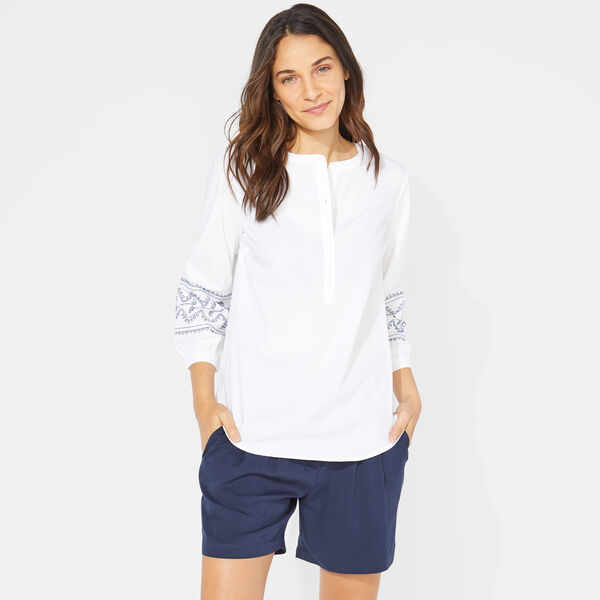 EMBROIDERED POPOVER TOP - Bright White