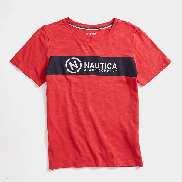 NAUTICA JEANS CO. FOIL LOGO T-SHIRT - Buoy Red