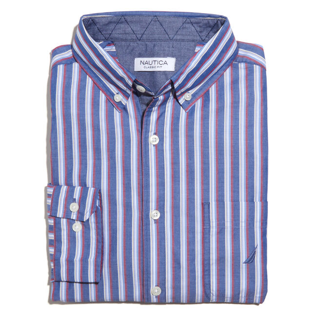 Long Sleeve Poplin Striped Classic Fit Shirt,Limoges,large