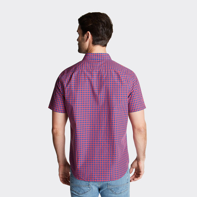 CLASSIC FIT SHORT SLEEVE SHIRT IN SUMMER GINGHAM,Sailor Red,large