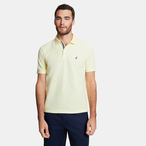 Classic Fit Solid Mesh Polo Shirt - Light Mimosa