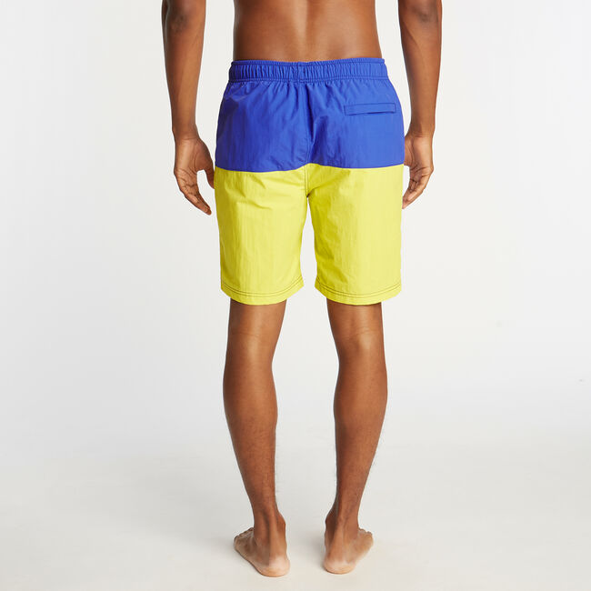 "8"" COLORBLOCK SWIM TRUNK,Blazing Yellow,large"