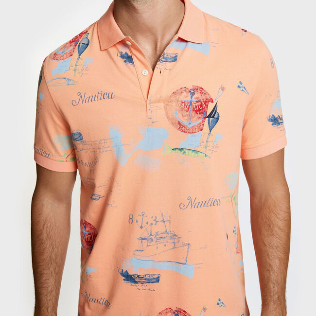 Artist Series Map Print Polo in Classic Fit,Orange,large