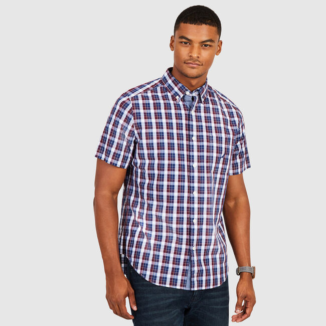 Short Sleeve Multi-Plaid Classic Fit Shirt,Royal Burgundy,large