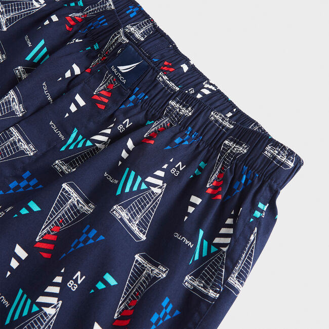WOVEN BOXERS,Charcoal Blue Heather,large