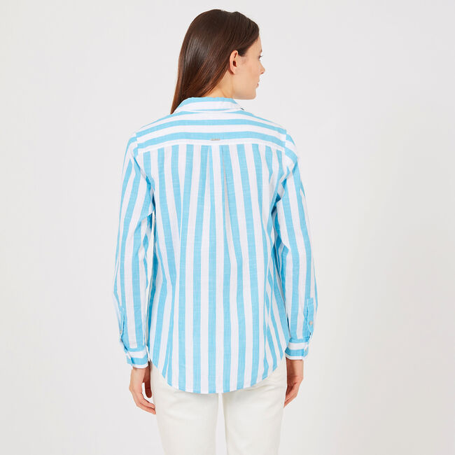 Striped Lace-Up Popover Shirt,Bright Blue Jig,large