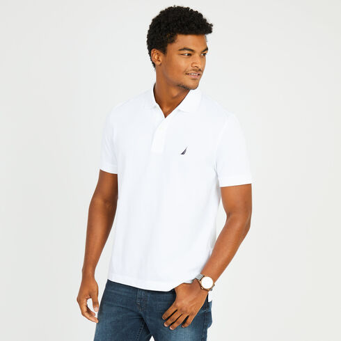 Short Sleeve Pique Classic Fit Deck Polo - Bright White