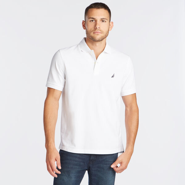 Classic Fit Mesh Polo - Bright White