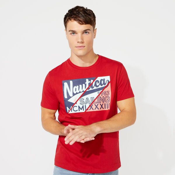 DIAGONAL SQUARE GRAPHIC T-SHIRT - Nautica Red