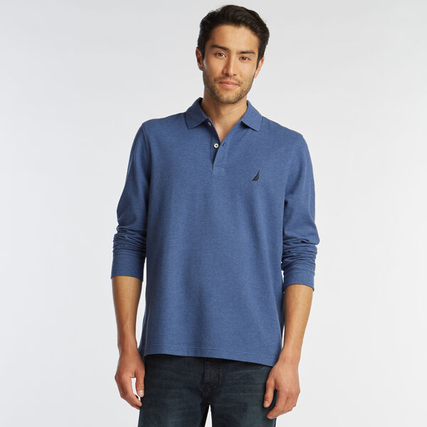 CLASSIC FIT LONG SLEEVE MESH POLO - Stellar Blue Heather