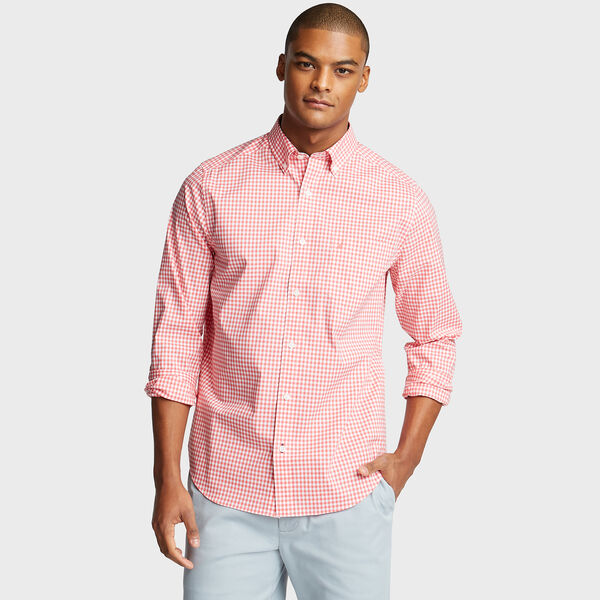 Classic Fit Poplin Shirt in Gingham - Spiced Coral
