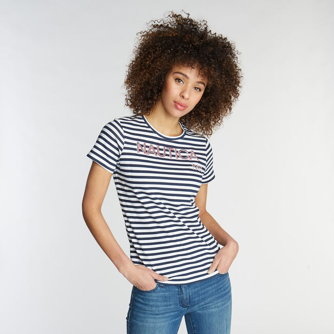CLASSIC FIT T-SHIRT IN STRIPE,Bright White,large