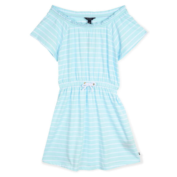 Girls' Blouson Dress in Breton Stripe - Sport Navy